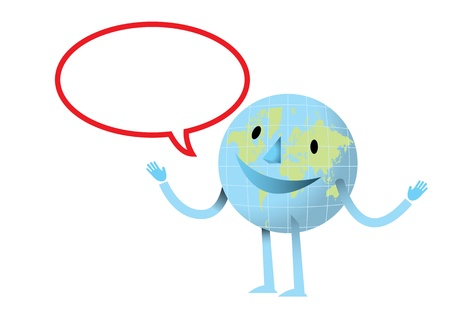 Happy earth with dialog Stock Vector - 17328893