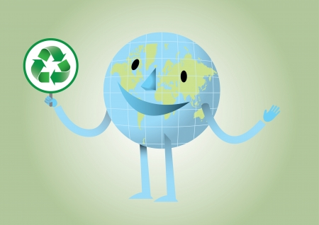 Happy earth with recycle logo Stock Vector - 17328894
