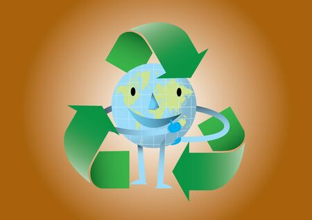 passion ecology: Happy earth with recycle logo