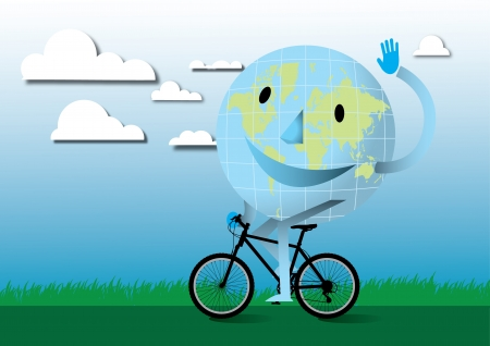 Happy earth with mountain bike Stock Vector - 17328897