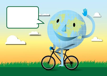 Happy earth with mountain bike Stock Vector - 17328898