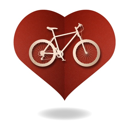Bike love heart papper cut Stock Photo - 17475215