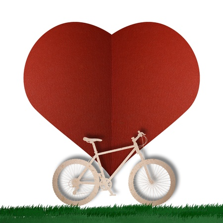 Bike love heart papper cut Stock Photo - 17475218