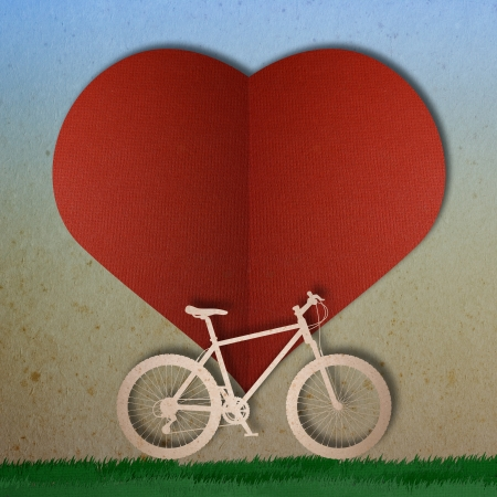 Bike love heart papper cut Stock Photo - 17475217