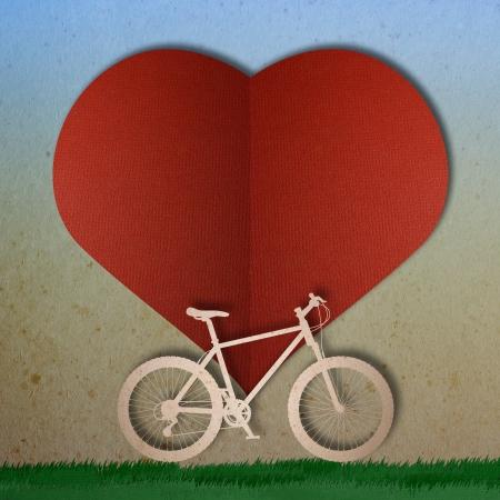Bike love heart papper cut Stock Photo - 17475217