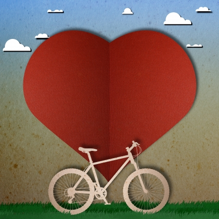 Bike love heart papper cut photo