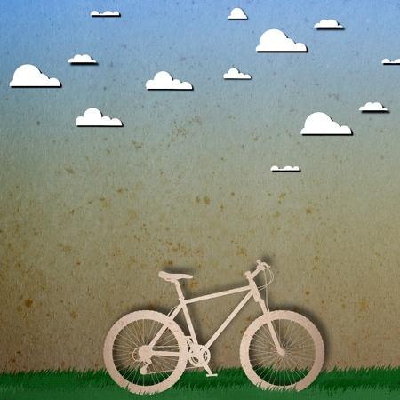 Bike love heart papper cut Stock Photo - 17475201