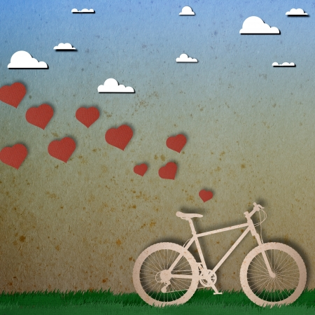 Bike love heart papper cut Stock Photo - 17475202
