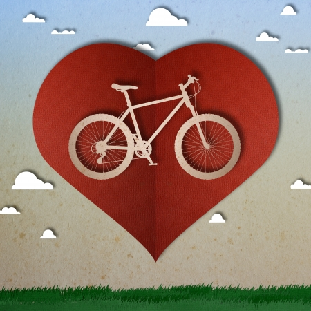 Bike love heart papper cut Stock Photo - 17475205