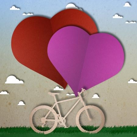 Bike love heart papper cut Stock Photo - 17475204