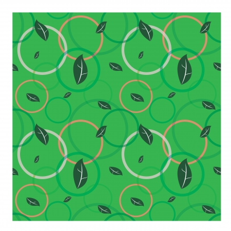 Seamless pattern with leaves and circle background Vector