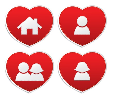 Set icons of Love in red hearts signs, vector Vector