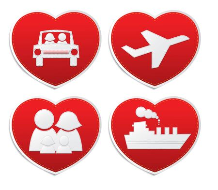desire: Set icons of Love in red hearts signs, vector