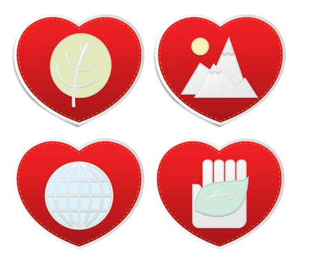 Set icons of Love in red hearts signs, vector Stock Vector - 18404233