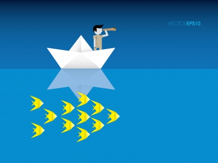 Origami boat fisherman and fish, vector