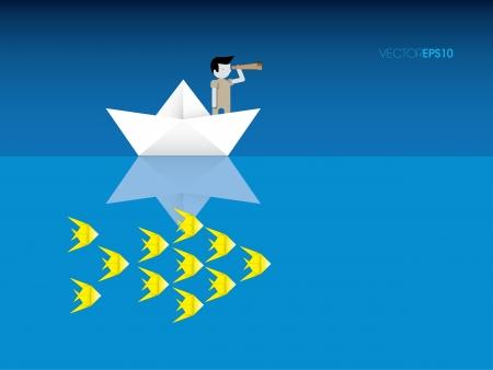 Origami boat fisherman and fish, vector