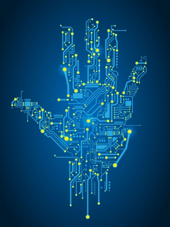 circuitos electronicos: Circuito de fondo abstracto del vector mano