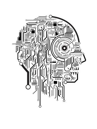 회로 추상 인간의 머리 벡터 배경