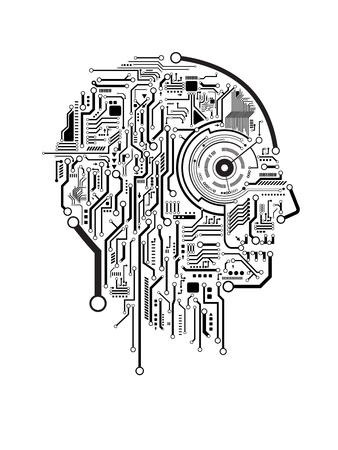 electronic circuit: Circuit abstract human head vector background