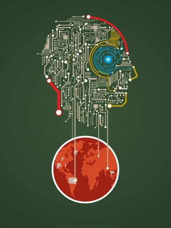 Circuit abstract human head vector background Vector
