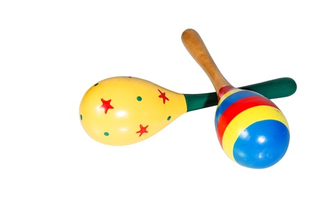 Color maracas percussion music instrument as white isolate background photo