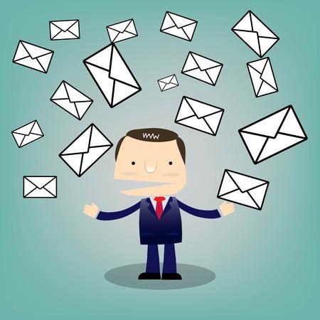 mail man: Hombre de negocios de dibujos animados electr�nico characterwith