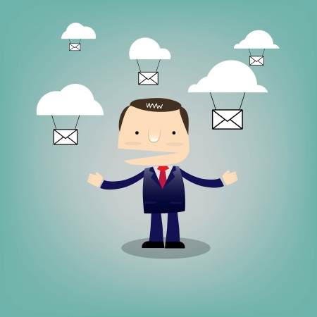 Business man cartoon character with cloud Illustration