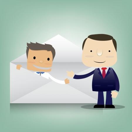 recruter: personnage de dessin anim� de l'homme d'affaires avec le recrutement �lectronique
