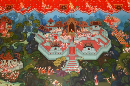 thai believe: Thai painting intemple with traditional style.