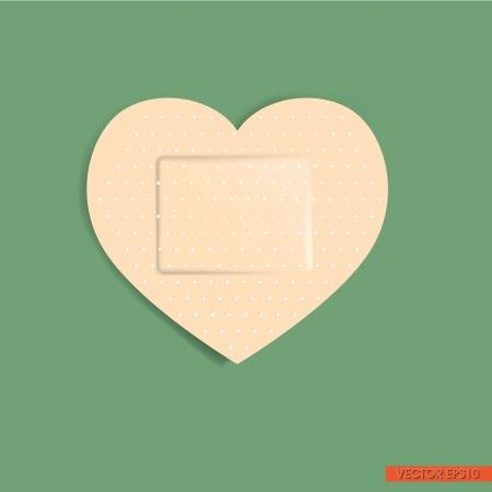 adhesive: Vendaje adhesivo en forma de coraz�n Vectores
