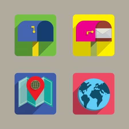 Icons set Colorful Style Vector