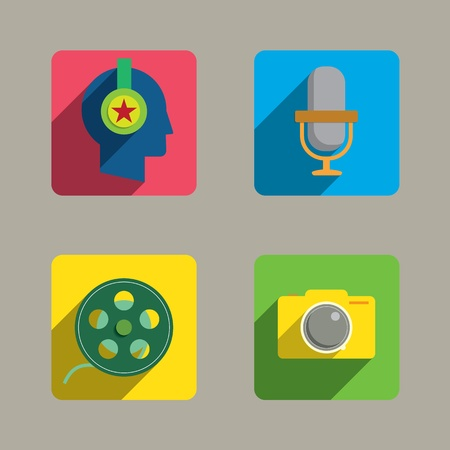 Media Colorful Style Icons set  Vector