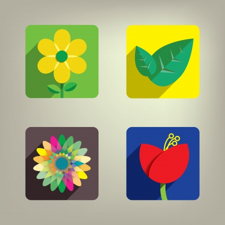 Colorful Flower icon set Stock Vector - 21824221