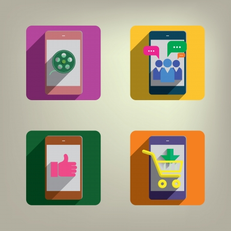 Smart phone Colorful Style Icons set Stock Vector - 22500508