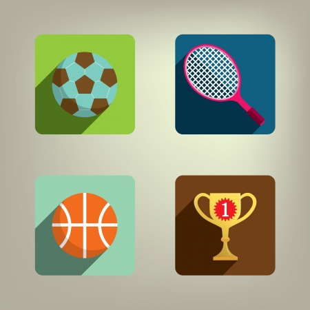 Sport Colorful Style Icons set  Vector