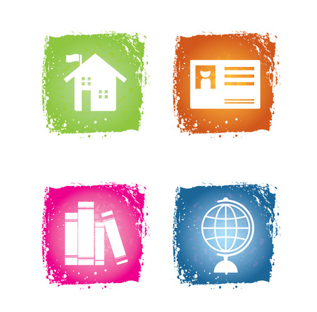 Education icon on colorful grunge background