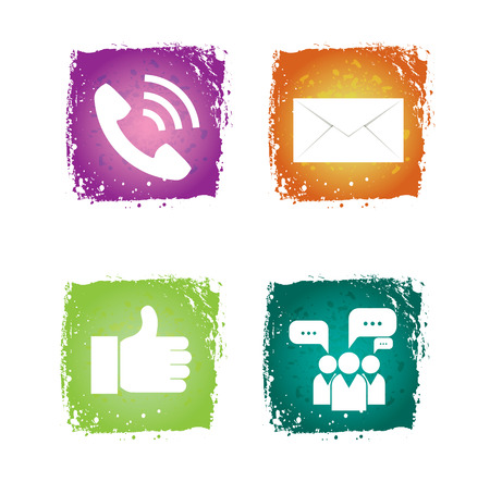 Social network Icon on colorful grunge background Stock Vector - 22500554