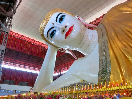 The giant reclining Buddha at Myanmar photo