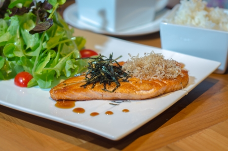 salmon steak japanese style photo