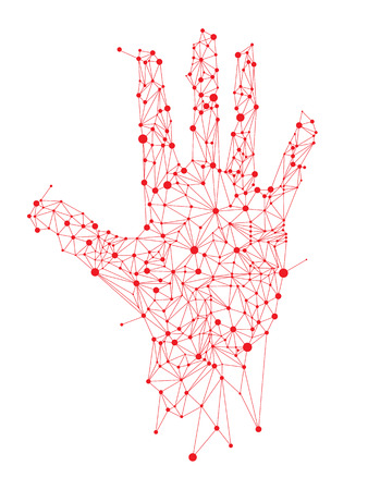 Hand dot connection, Abstract Vector