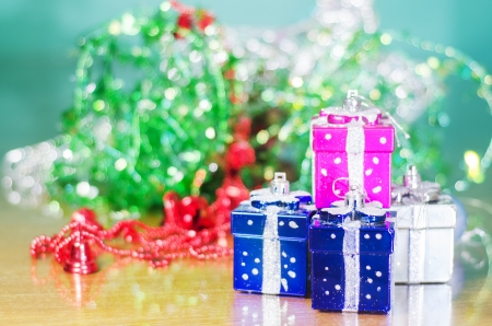 christmas decoration, Christmas presents against bokeh background photo