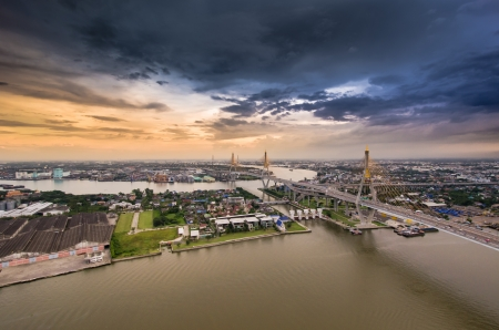 Bhumibol Bridge the Industrial Ring Road in Thailand. photo