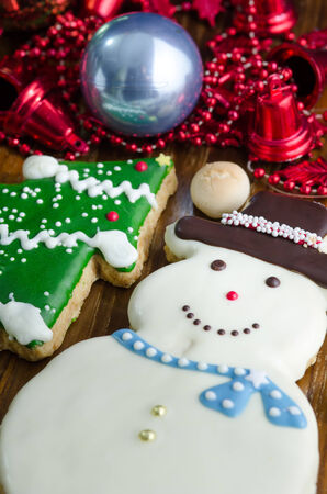 christmas cookie:  Christmas Cookie in the shape of a snowman Stock Photo