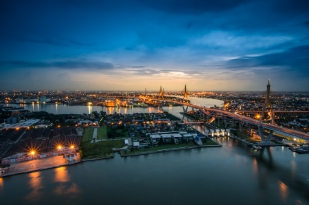 bhumibol: Bangkok city view from above, Thailand. (Bhumibol Bridge)