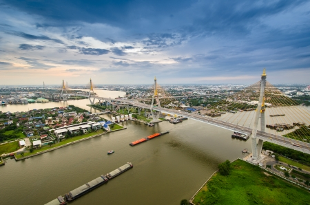 bangkok city: Bangkok city view from above, Thailand. (Bhumibol Bridge)