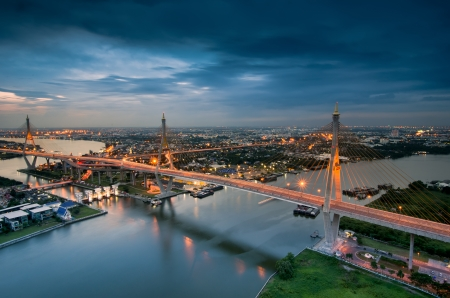 Bangkok city view from above, Thailand. (Bhumibol Bridge) photo