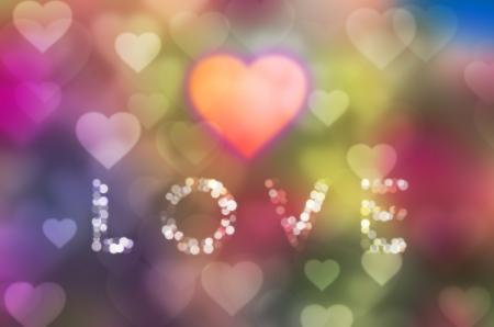 corazon: Valentine  Bokeh on a colorful Background Stock Photo