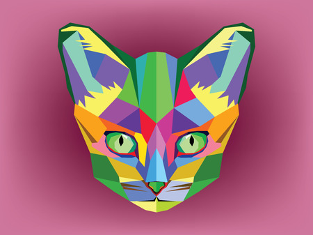 Cat head with geometric style photo