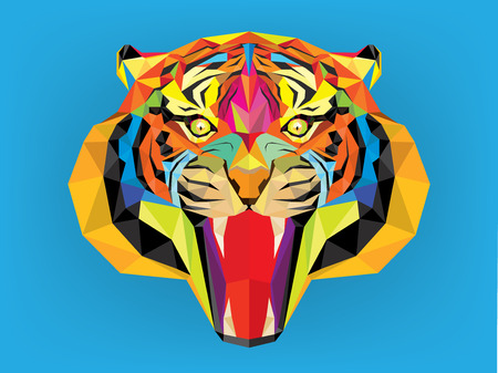bengal: Tiger head with geometric style