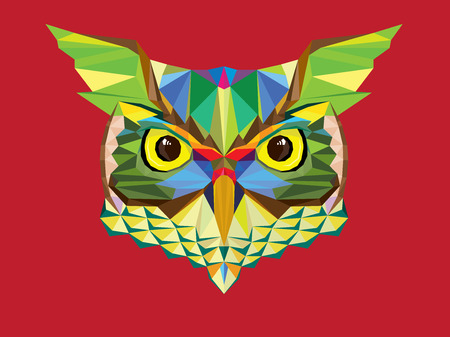 Owl head in geometric pattern